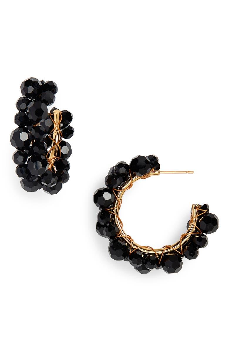 SIMONE ROCHA Small Wiggle Crystal Hoop Earrings, Main, color, JET