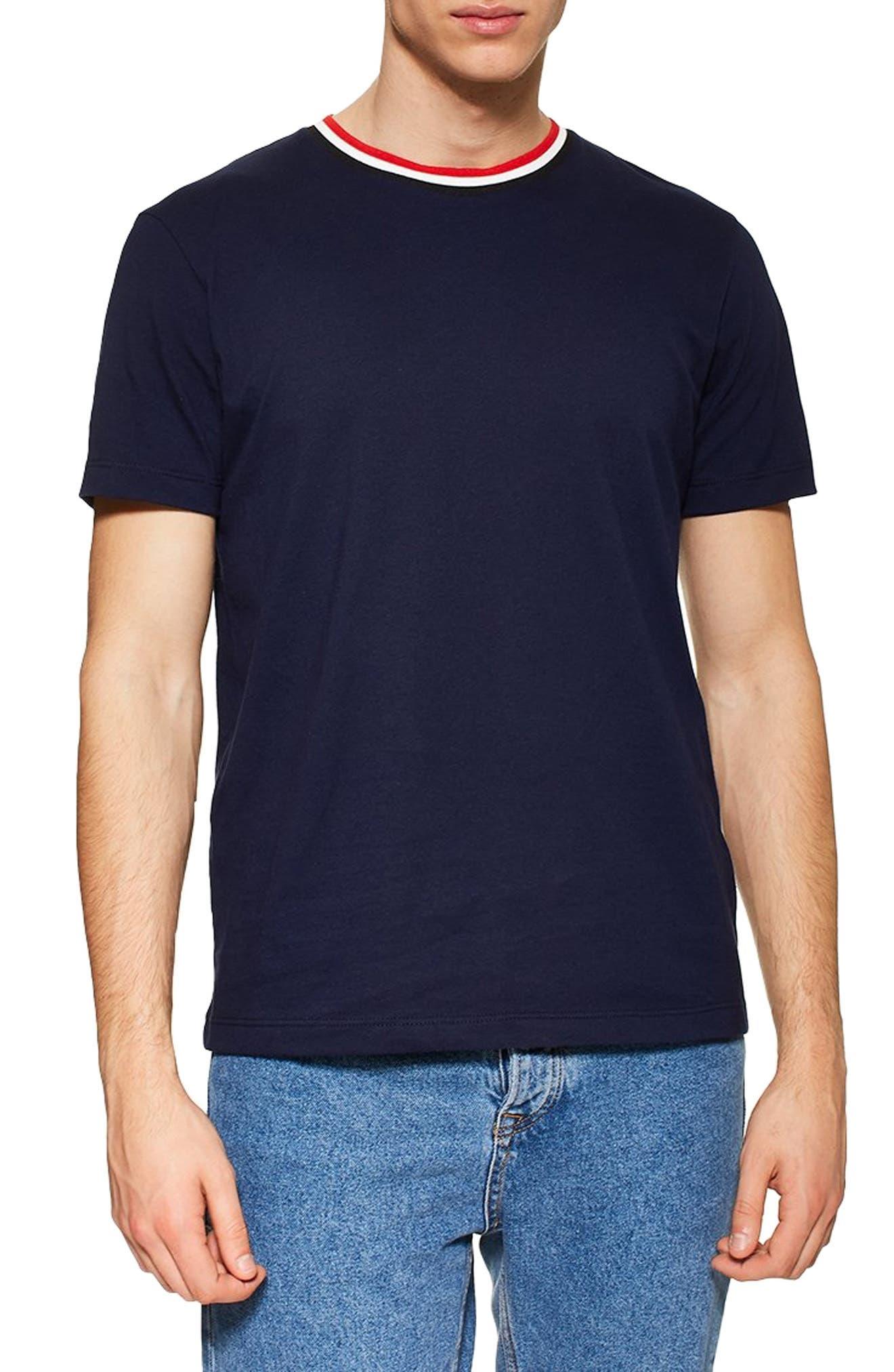 1960s -1970s Men's Clothing Mens Topman Ringer T-Shirt Size Large - Blue $20.00 AT vintagedancer.com