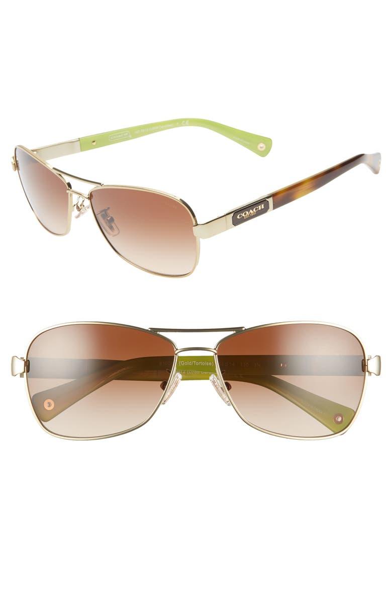 03879ed58565 Caroline 56mm Gradient Aviator Sunglasses, Main, color, GOLD/ BROWN GRADIENT