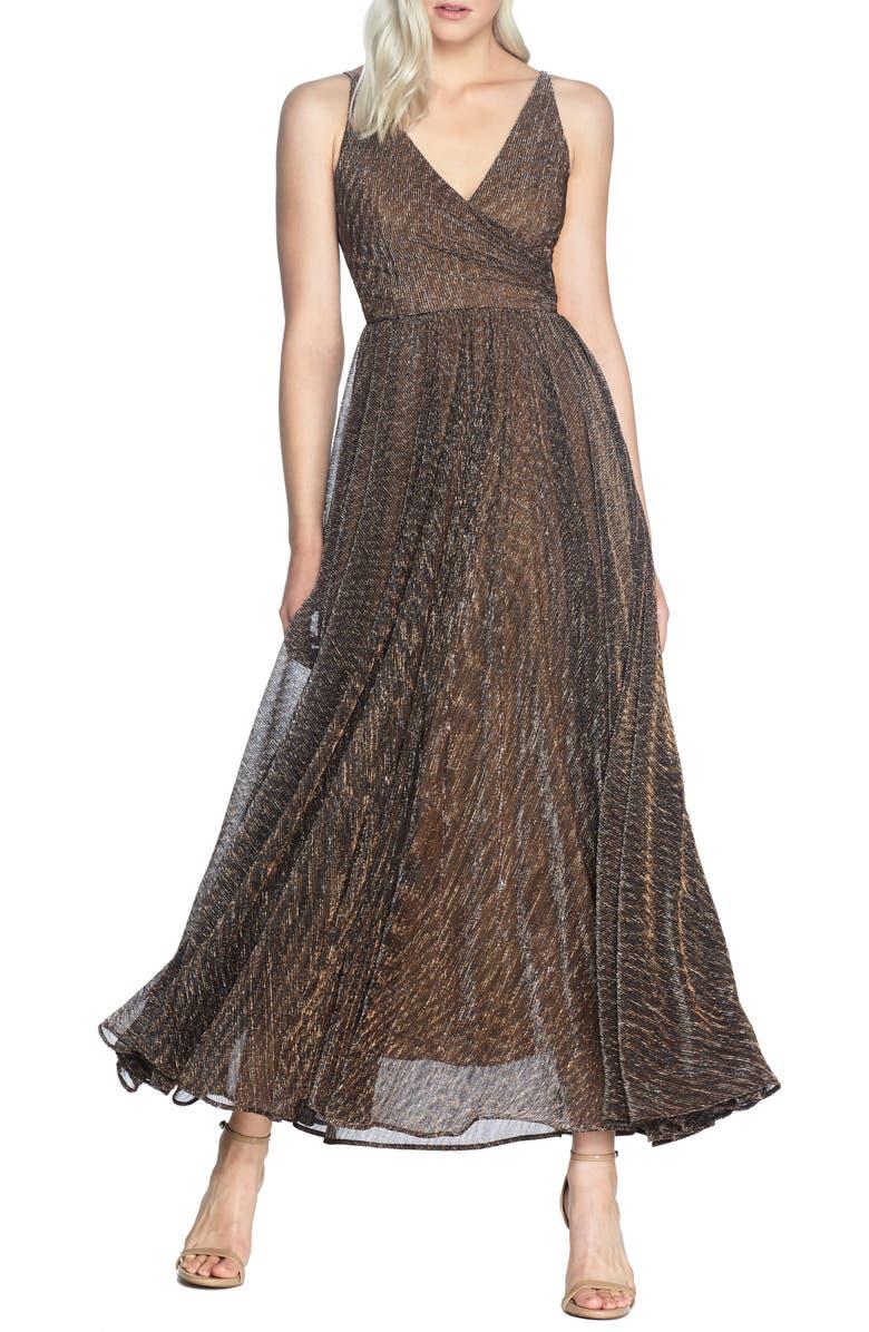 DRESS THE POPULATION Valentina Metallic Fit & Flare Gown, Main, color, METALLIC BRONZE