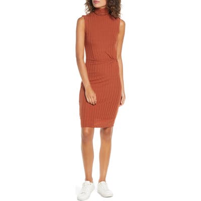Ali & Jay Take Me Downtown Turtleneck Side Twist Rib Dress, Orange