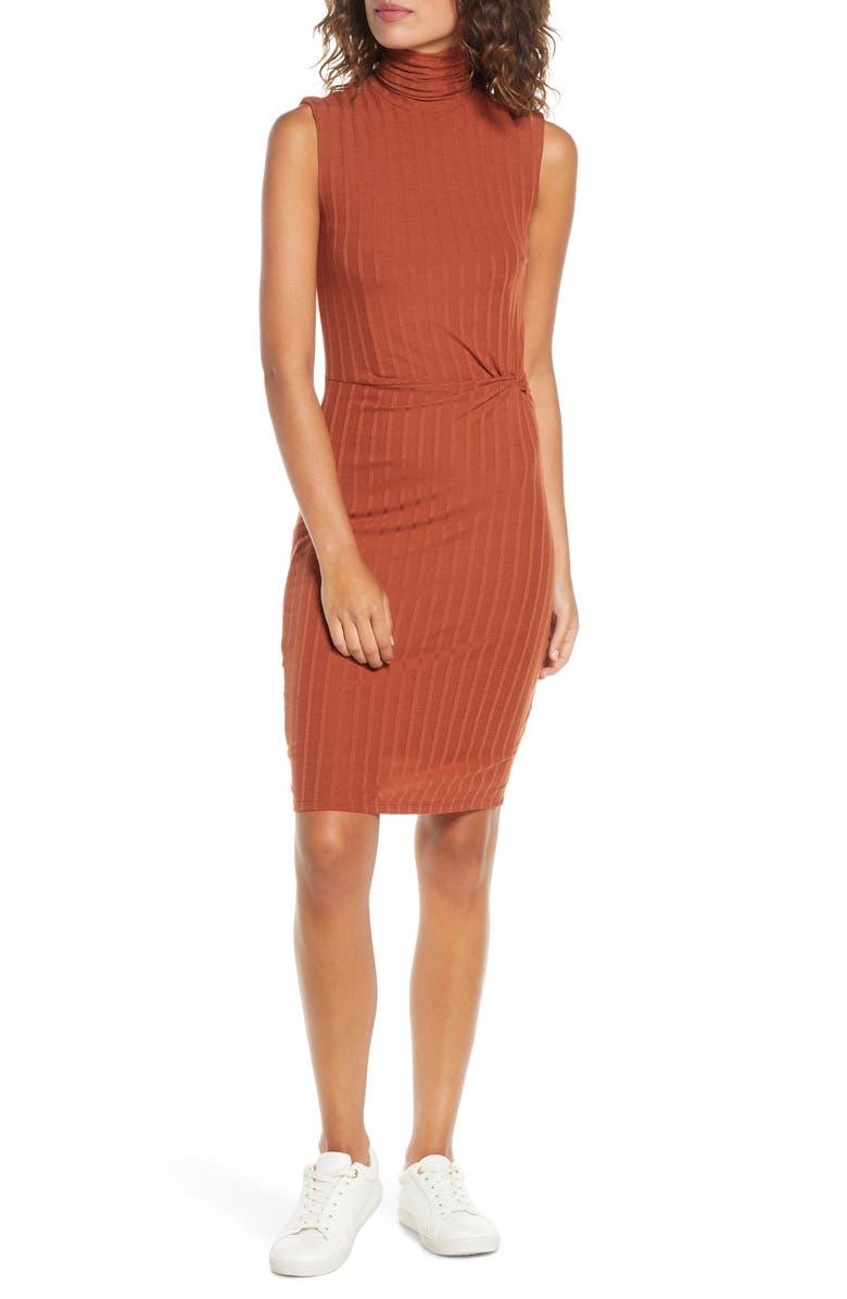 ALI & JAY Take Me Downtown Turtleneck Side Twist Rib Dress, Main, color, 828