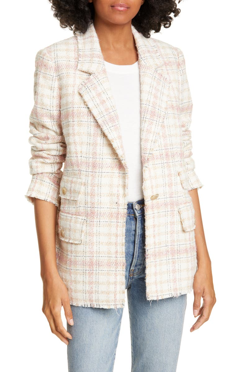 REBECCA TAYLOR Plaid Tweed Jacket, Main, color, 900