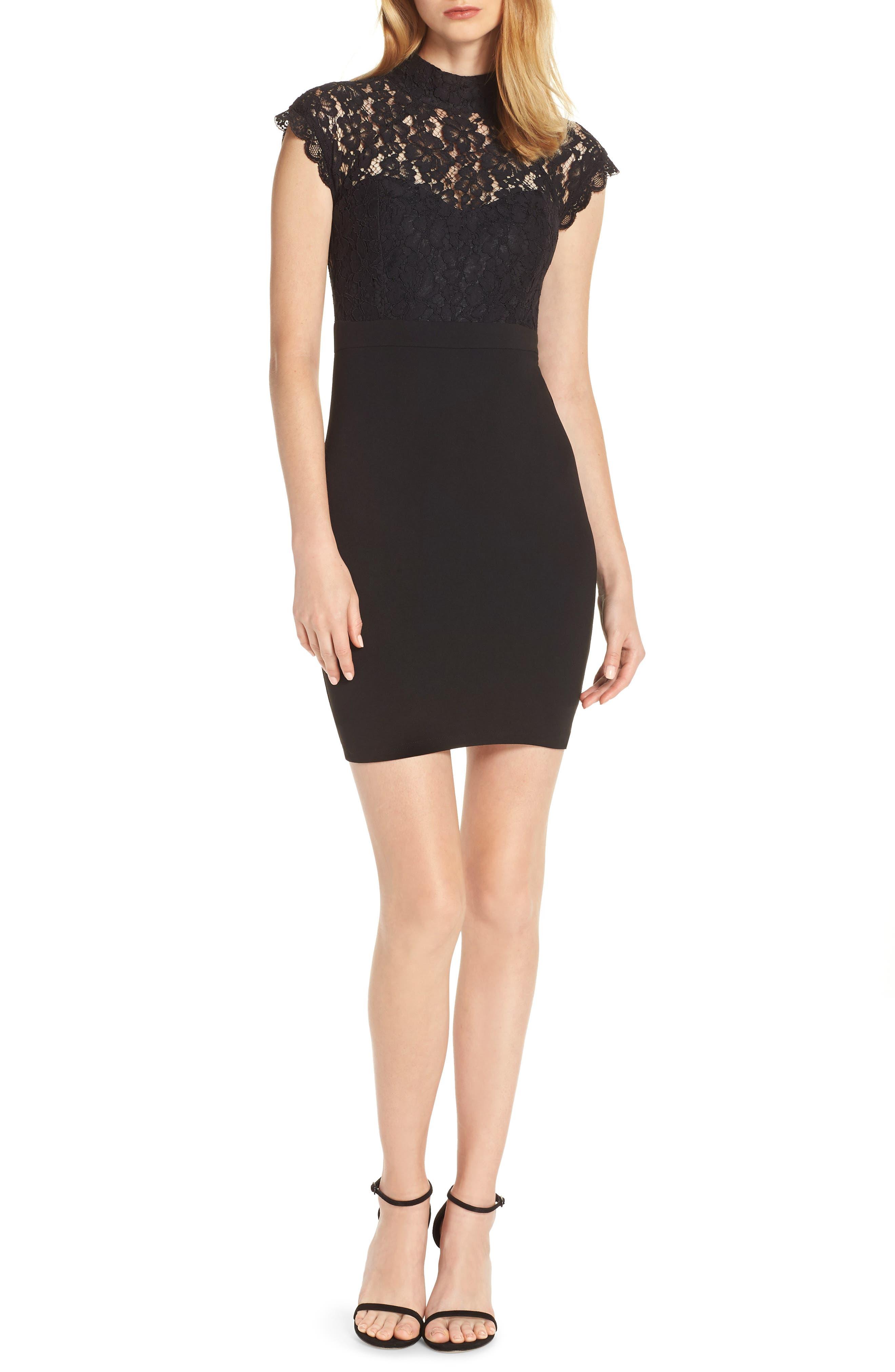 ,                             Lace Sheath Dress,                             Main thumbnail 1, color,                             BLACK