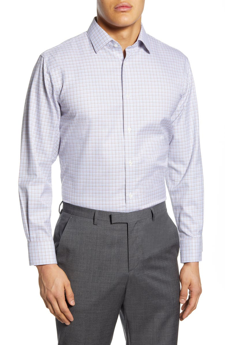 NORDSTROM MEN'S SHOP Traditional Fit Non-Iron Check Dress Shirt, Main, color, BROWN ROOT