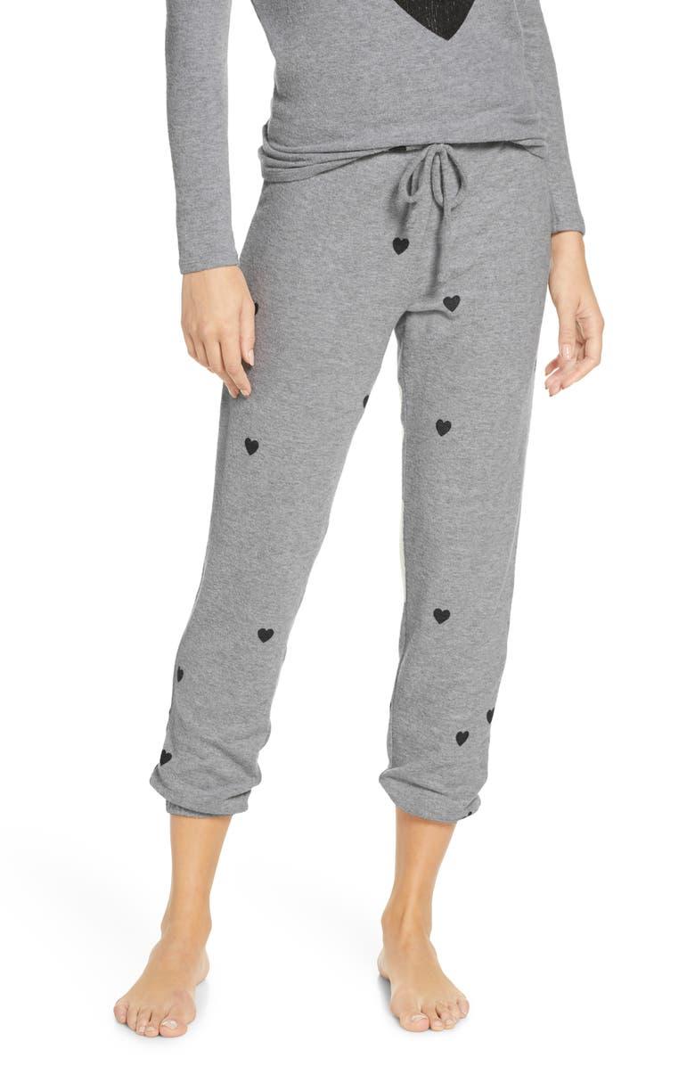 CHASER Tiny Hearts Cozy Jogger Pants, Main, color, H GREY