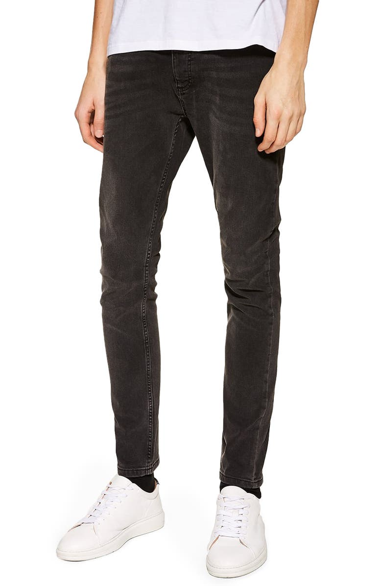 TOPMAN Stretch Skinny Fit Jeans, Main, color, 003