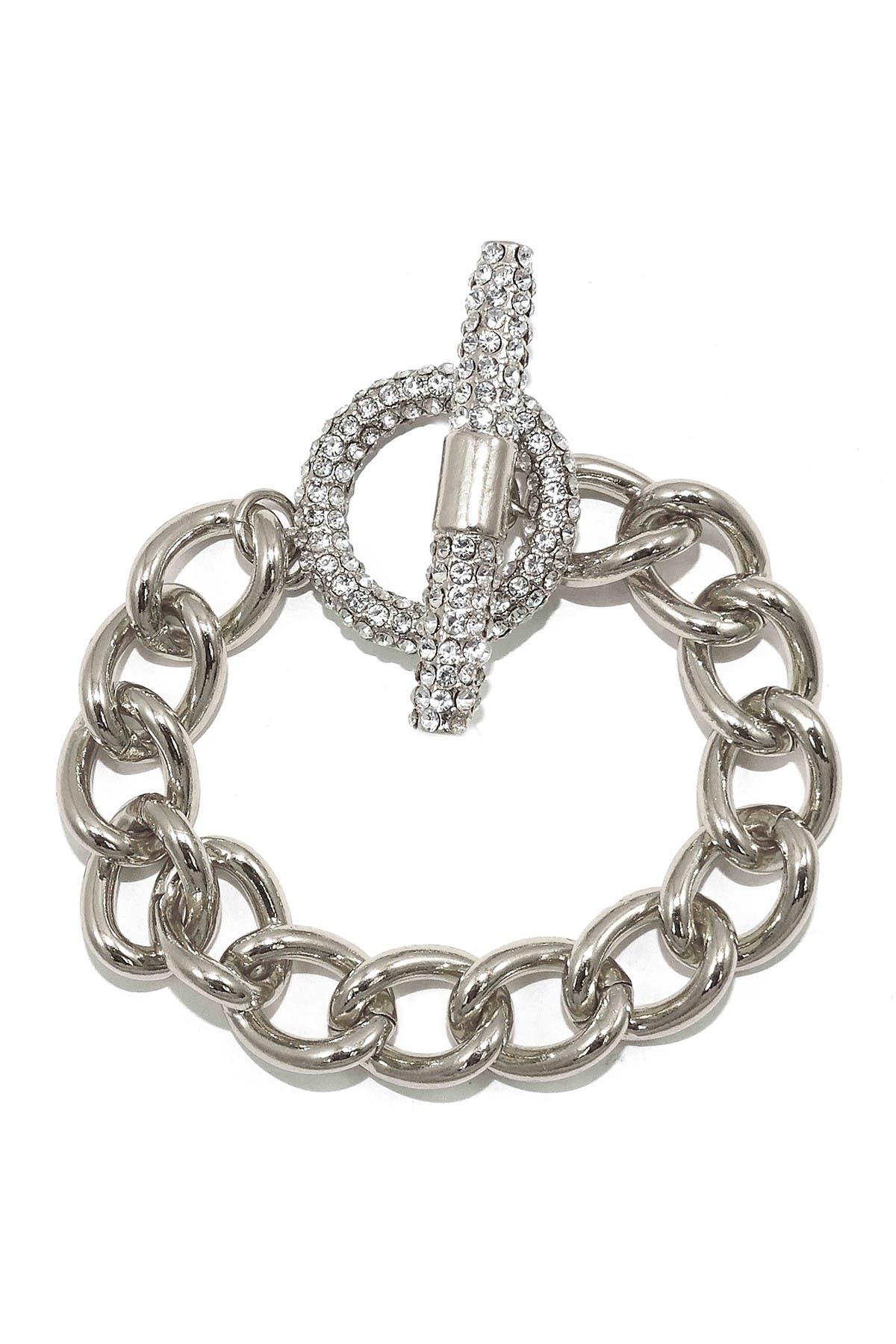 Image of Savvy Cie Cuban Link Pave CZ Toggle Bracelet