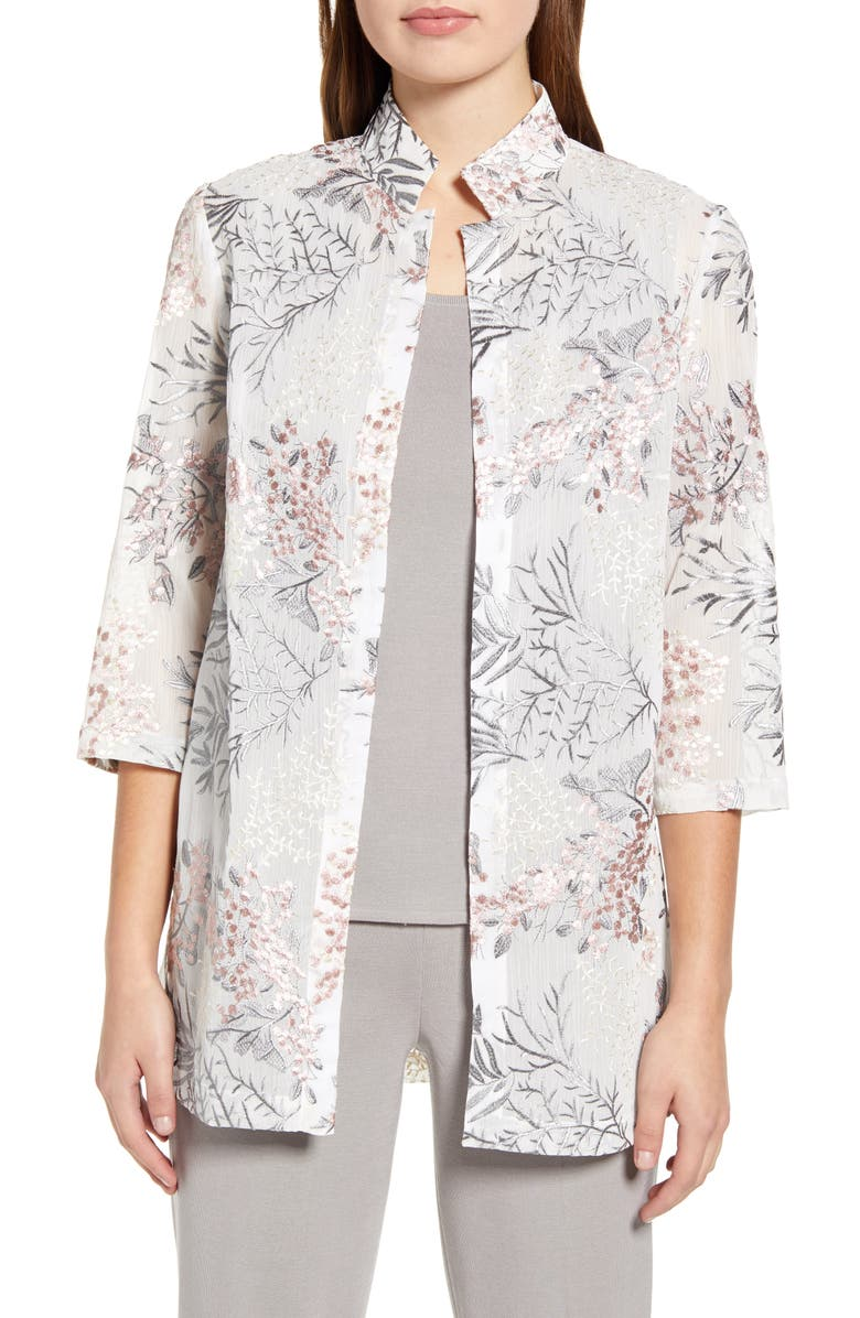 MING WANG Floral Embroidered Jacket, Main, color, WHITE/ MULTI