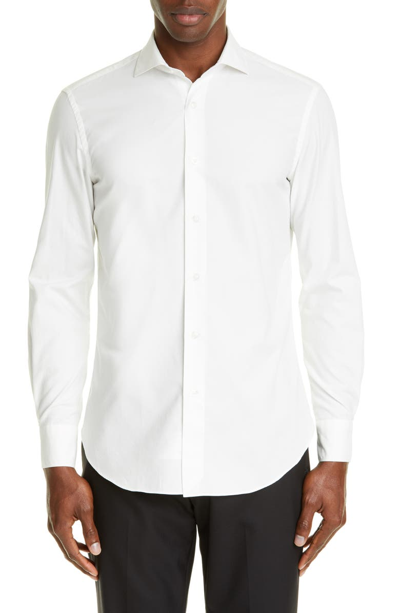 BOGLIOLI Slim Fit Solid Shirt, Main, color, WHITE