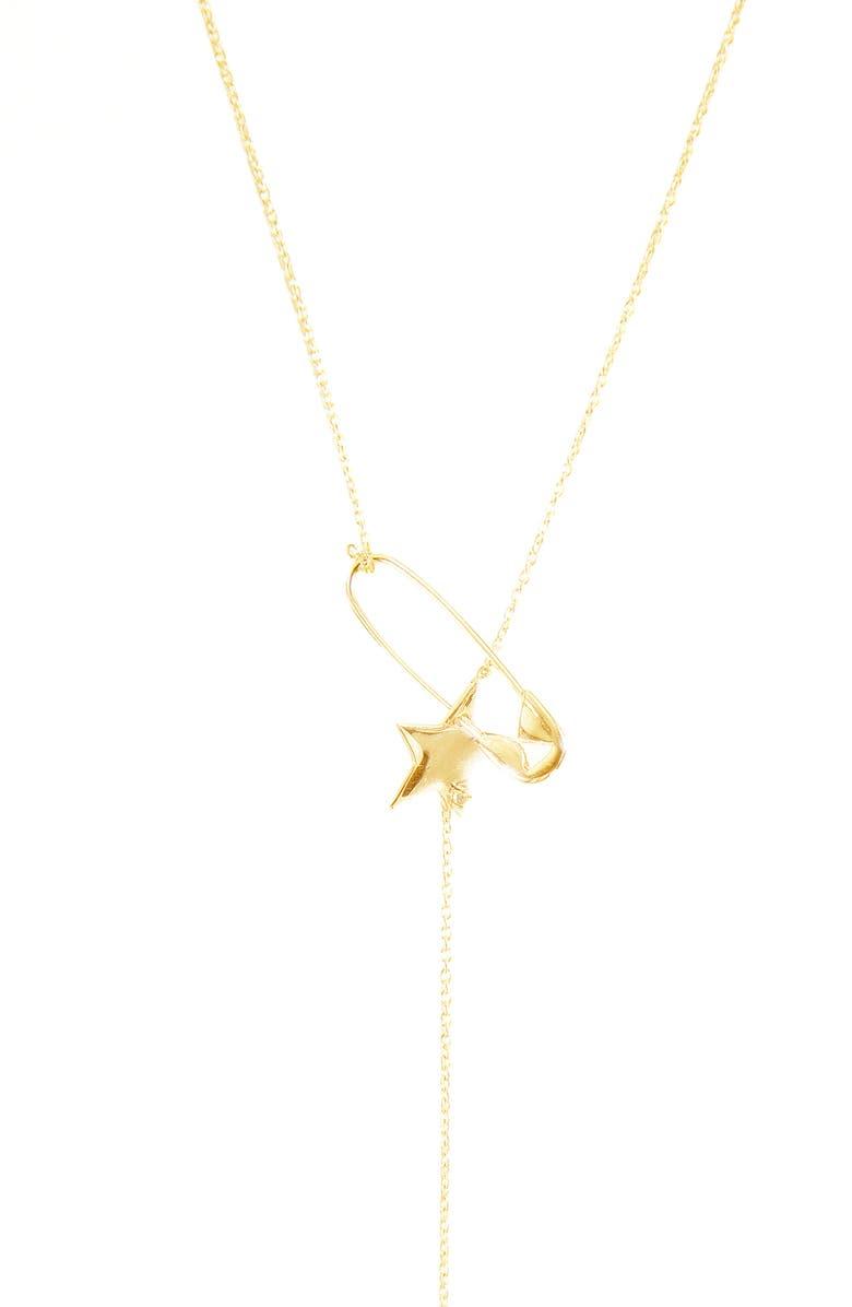 ADORNIA Pin Star Lariat Necklace, Main, color, YELLOW GOLD