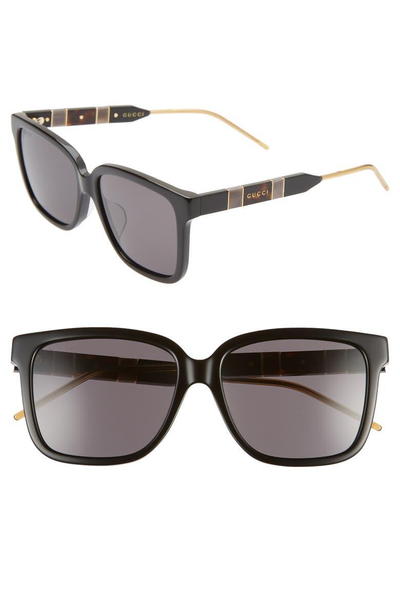 GUCCI 56mm Square Sunglasses, Main, color, BLACK/ GREY SOLID