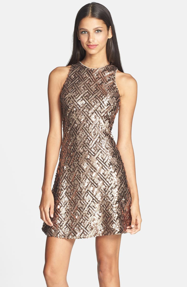 DRESS THE POPULATION 'Mia' Sequin Cutaway Fit & Flare Dress, Main, color, 221