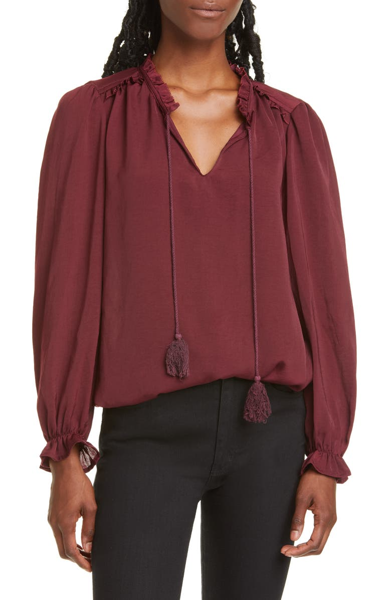 DOLAN Dahlia Split Neck Tassel Tie Blouse, Main, color, 500