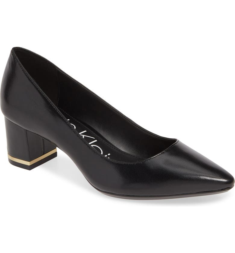 CALVIN KLEIN Nita Pointy Toe Pump, Main, color, BLACK LEATHER