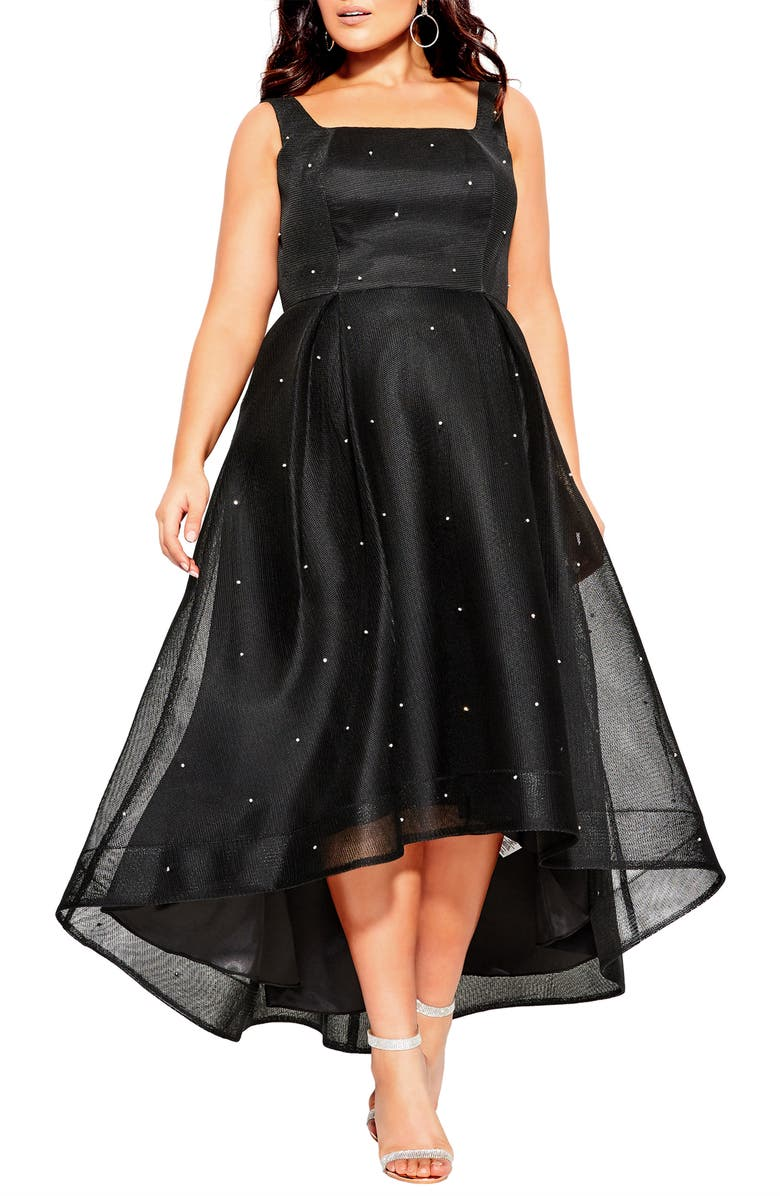 CITY CHIC Jewelled A-Line Dress, Main, color, BLACK