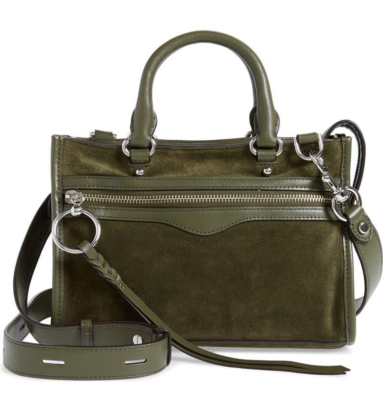 REBECCA MINKOFF Micro Bedford Leather Satchel, Main, color, HUNTER