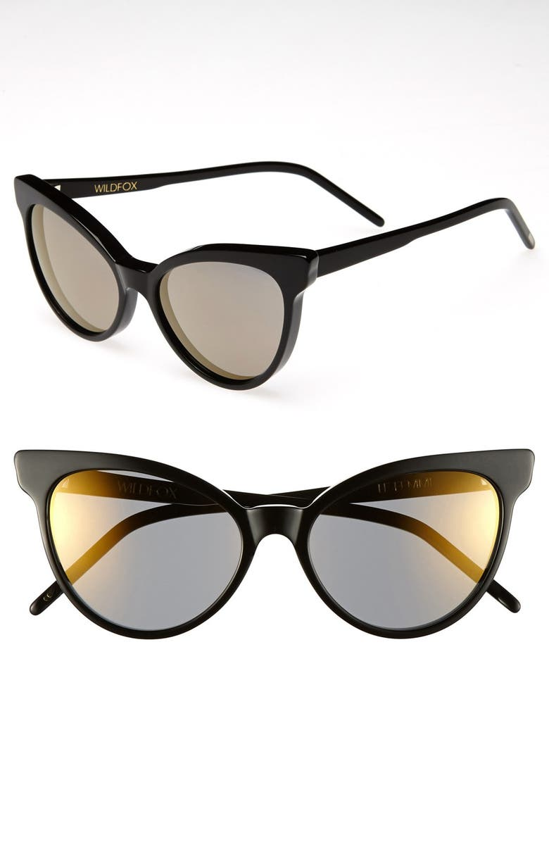 WILDFOX 'La Femme Deluxe' 55mm Sunglasses, Main, color, 001