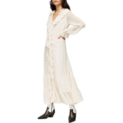 Petite Topshop Frill Chiffon Long Sleeve Maxi Dress, P US - Ivory