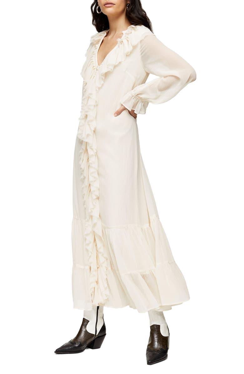 TOPSHOP Frill Chiffon Long Sleeve Maxi Dress, Main, color, IVORY