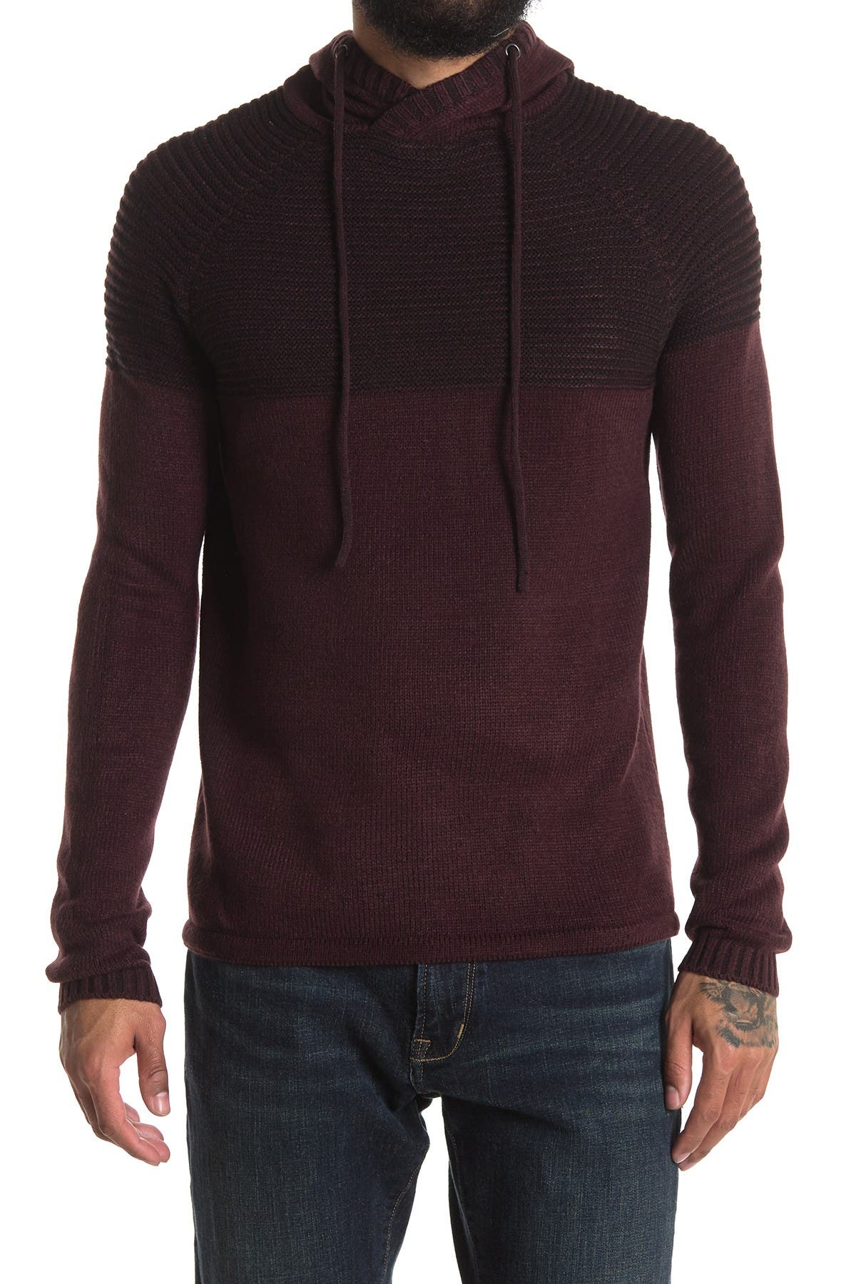 Image of HEDGE Plated Yarn Colorblock Hoodie