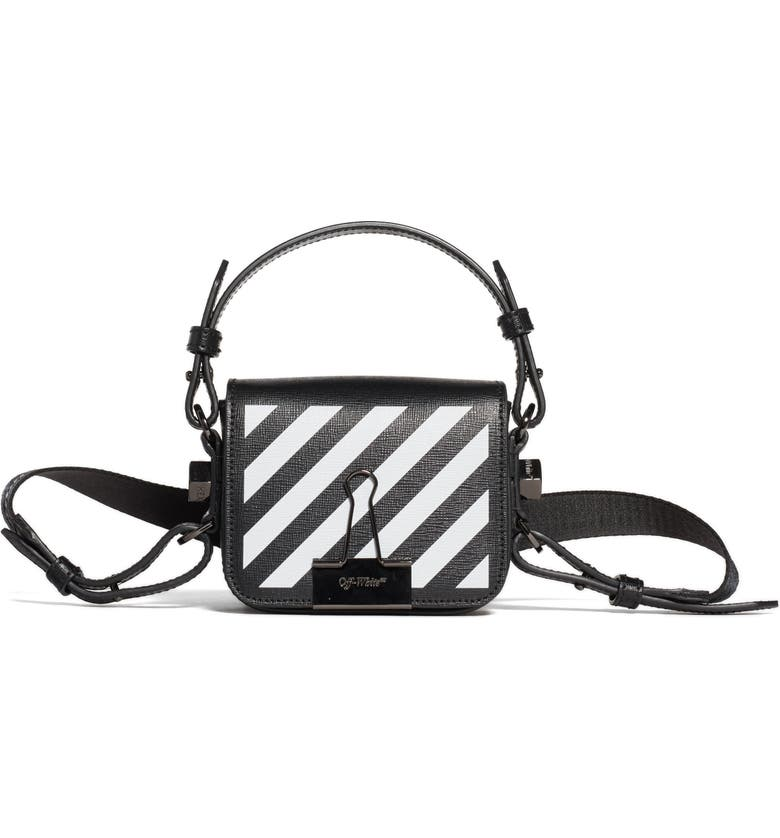 OFF-WHITE Baby Diagonal Stripe Flap Bag, Main, color, BLACK WHITE