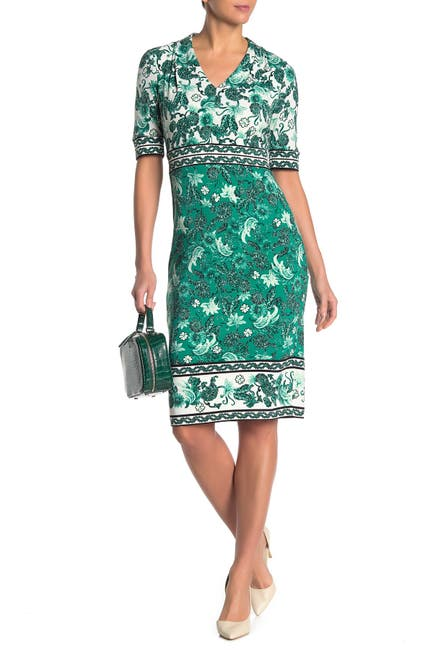 Image of Maggy London Floral Paisley V-Neck Sheath Dress