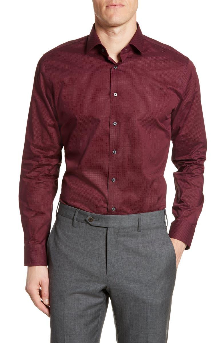 CALIBRATE Trim Fit Stretch Dot Dress Shirt, Main, color, RED RUMBA