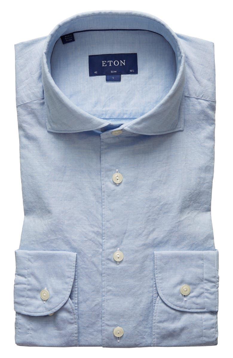 ETON Slim Fit Cotton & Silk Dress Shirt, Main, color, BLUE