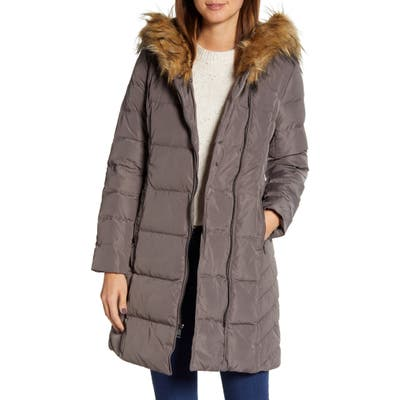 Cole Haan Feather & Down Puffer Jacket With Faux Fur Trim, Grey