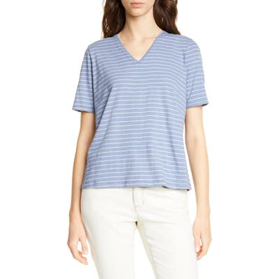 Petite Eileen Fisher V-Neck Top, Blue