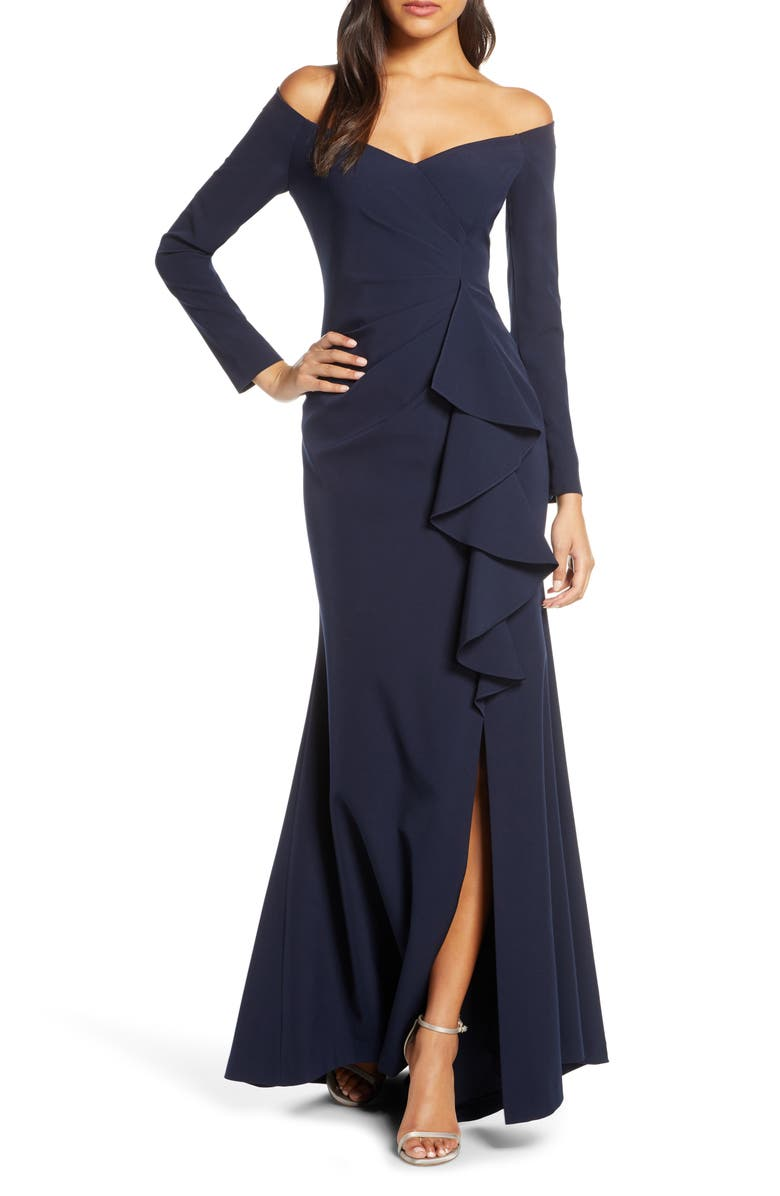 VINCE CAMUTO Off the Shoulder Long Sleeve Evening Gown, Main, color, NAVY