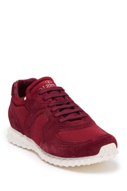 Image of Valentino Suede Panel Lace-Up Sneaker