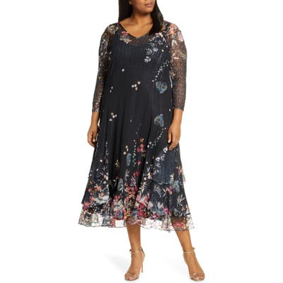 Plus Size Komarov Wildflower Print Chiffon Tiered Cocktail Dress, Black