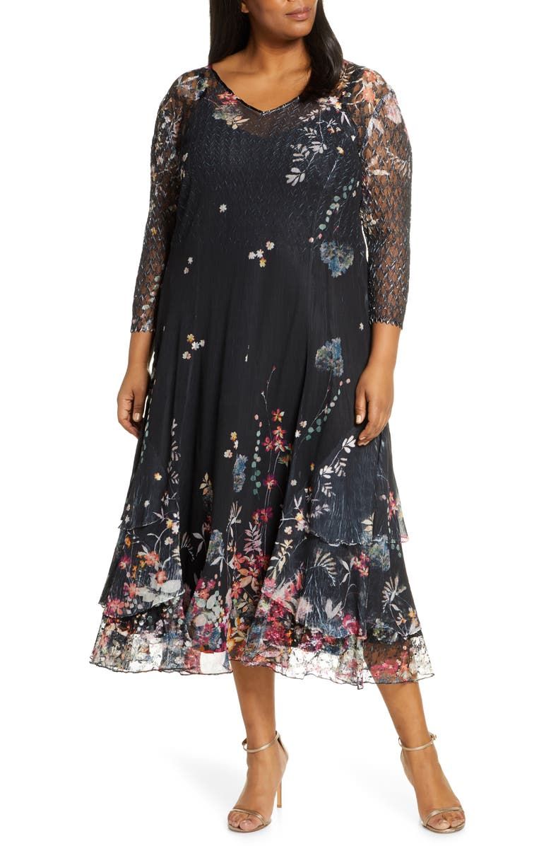 KOMAROV Wildflower Print Chiffon Tiered Cocktail Dress, Main, color, 001