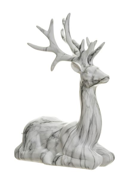 "Image of ALLSTATE 19.25"" Sitting White Marble Reindeer"