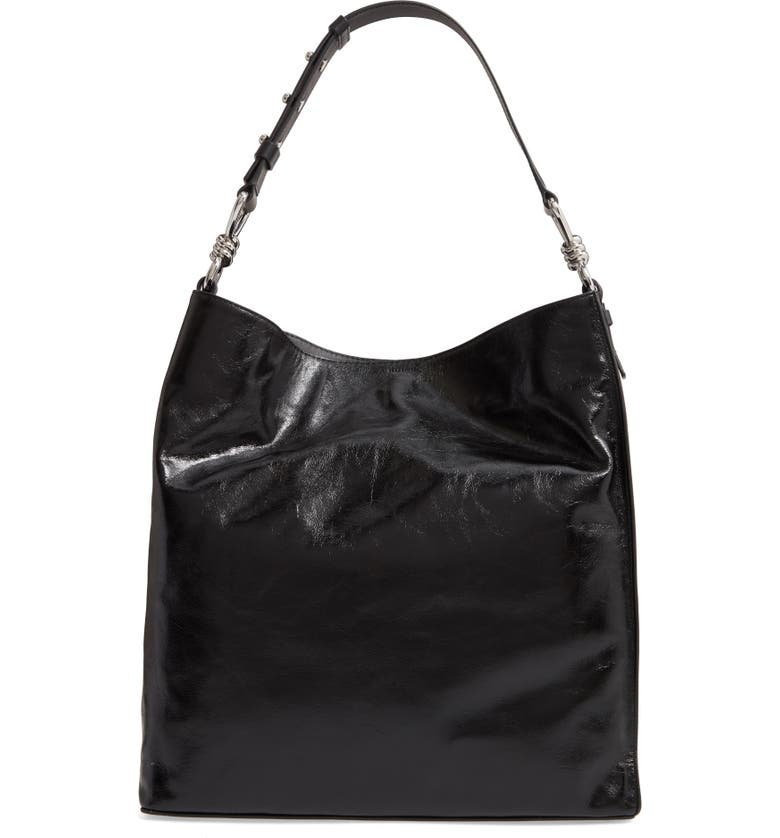 ALLSAINTS Captain Shiny Calfskin Leather Tote, Main, color, SHINY BLACK