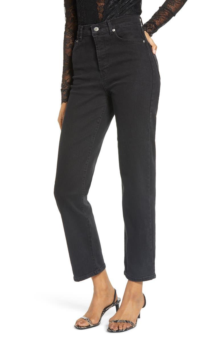 NA-KD High Waist Straight Leg Jeans, Main, color, BLACK