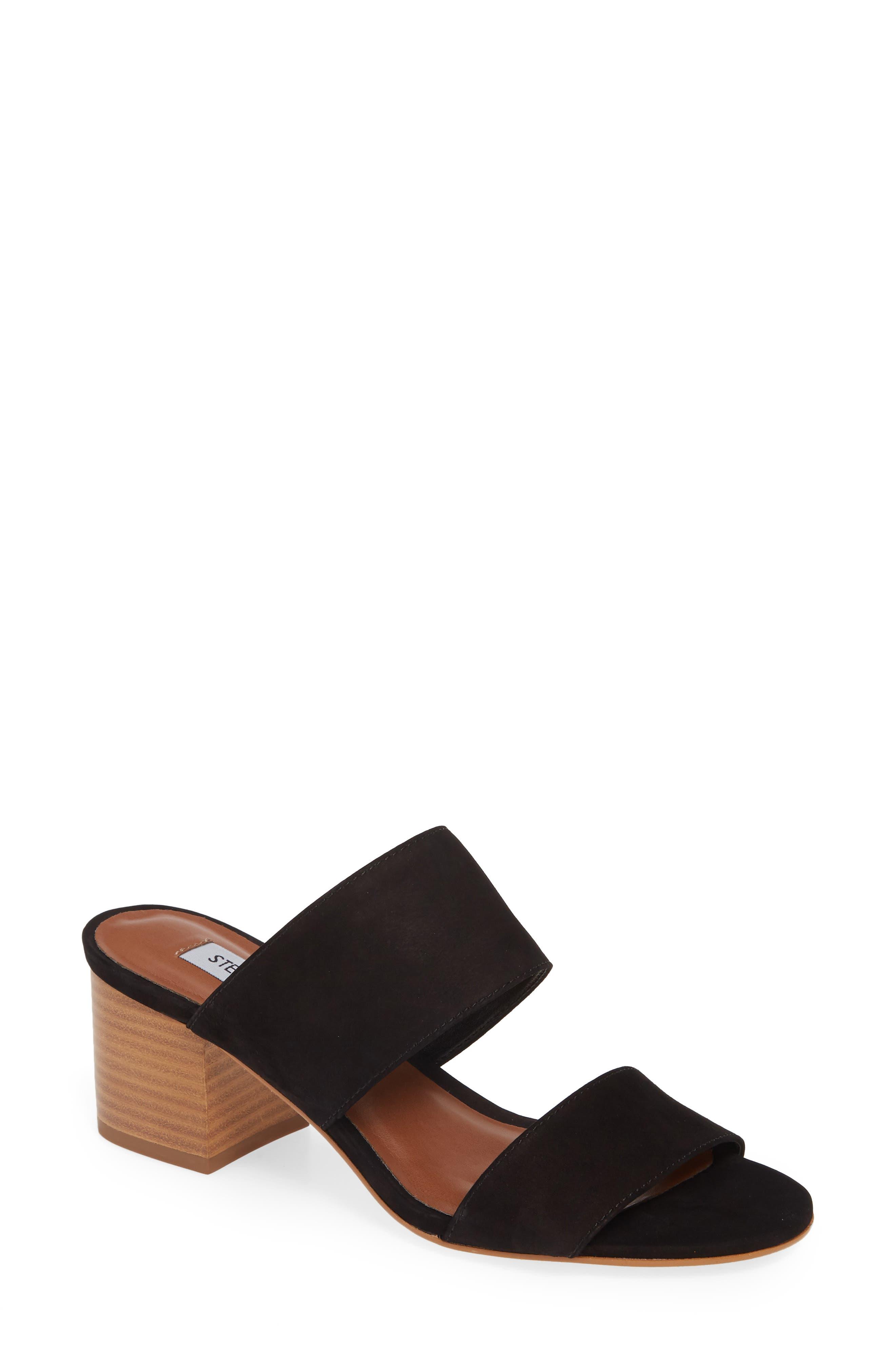 ,                             Ilena Block Heel Slide Sandal,                             Main thumbnail 1, color,                             BLACK