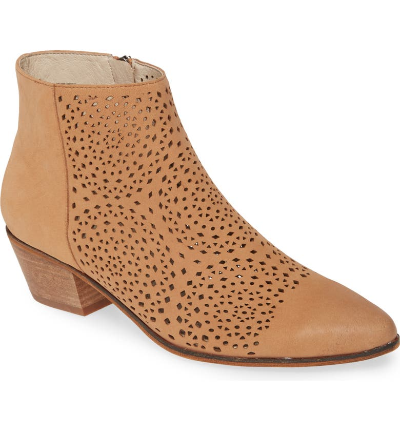 CASLON<SUP>®</SUP> Jamie Perforated Bootie, Main, color, SUN TAN NUBUCK