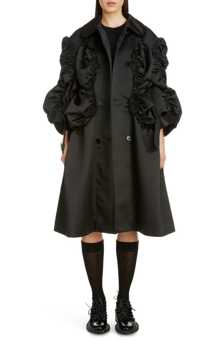 SIMONE ROCHA Belted Shirred Satin Coat, Main, color, BLACK