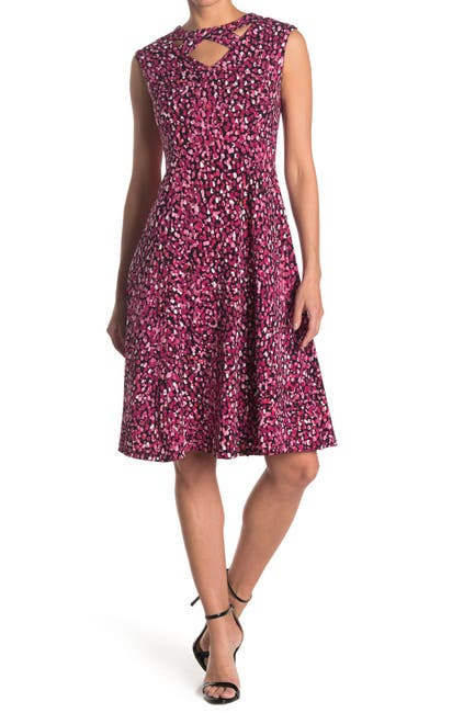 Image of London Times Festive Dot Print Cutout Jersey Fit & Flare Dress