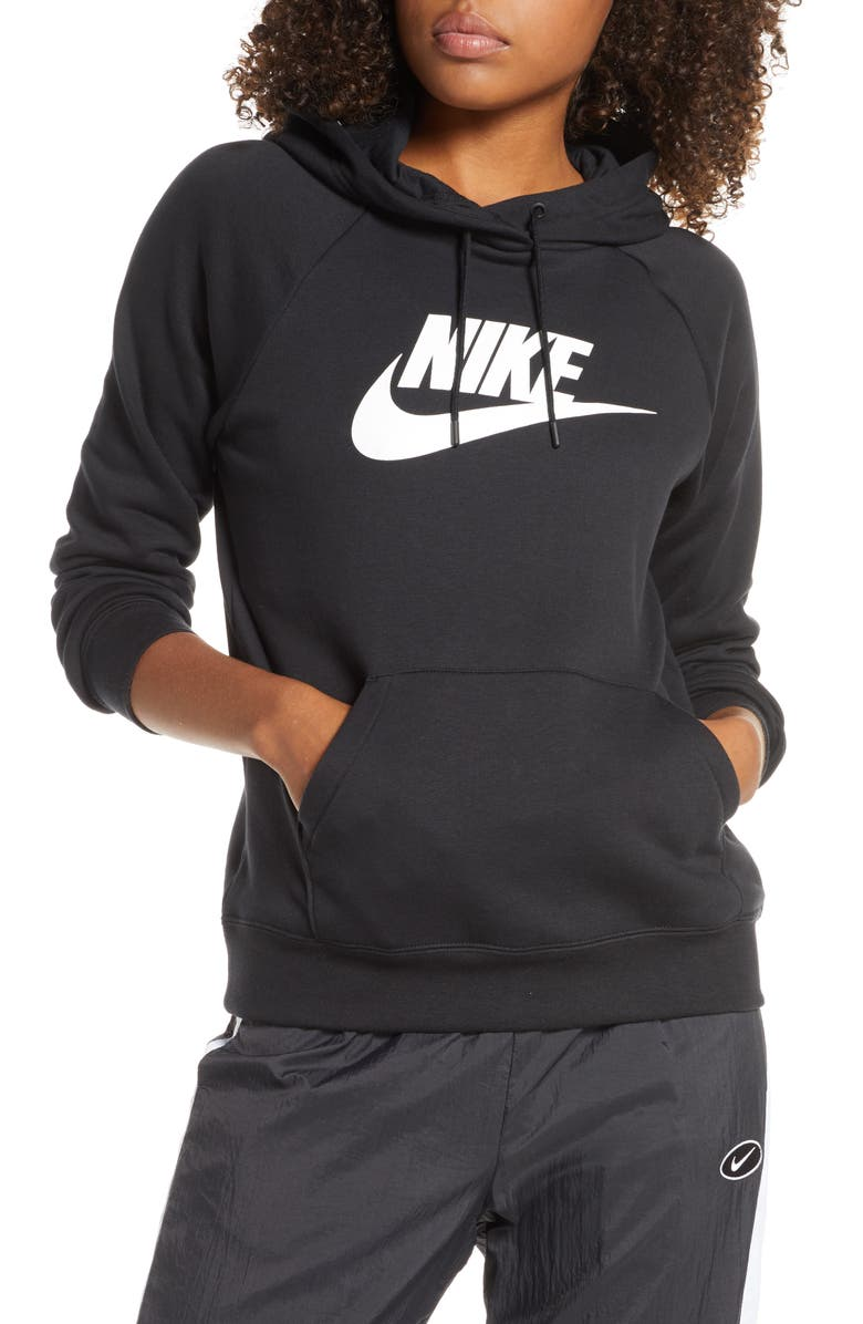 NIKE Sportswear Essential Pullover Hoodie, Main, color, BLACK/ WHITE