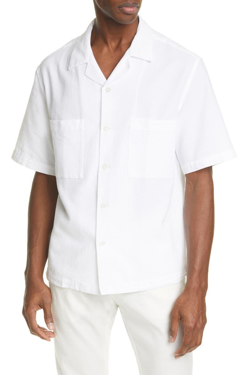 BARENA VENEZIA Camica Solana Textured Short Sleeve Button-Up Camp Shirt, Main, color, 100