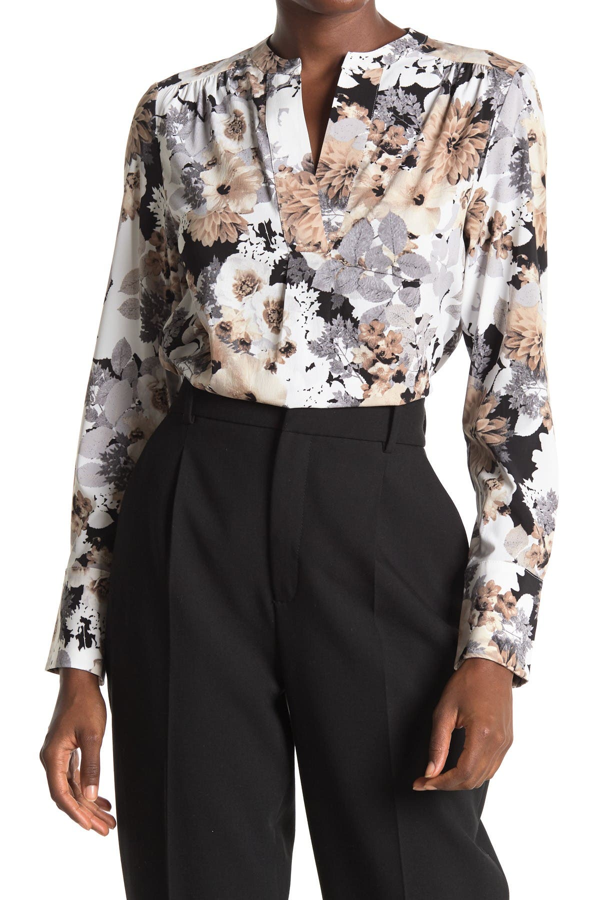 Image of Calvin Klein V-Neck Floral Printed Long Sleeve Blouse