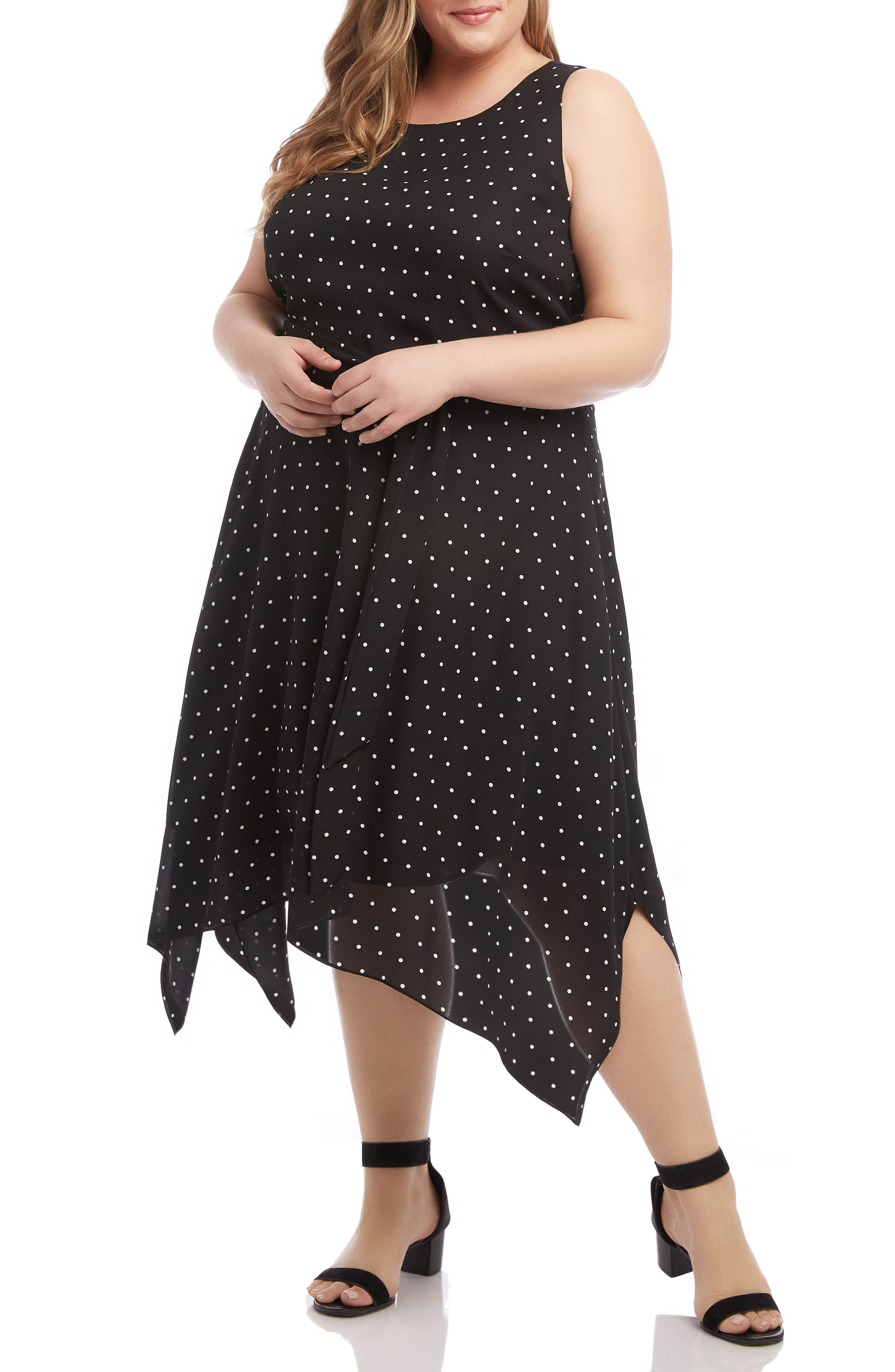 Plus Size Karen Kane Polka Dot Sleeveless Handkerchief Hem Dress, Black