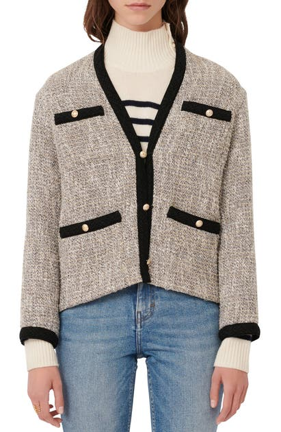 Maje CONTRAST TRIM METALLIC TWEED CARDIGAN