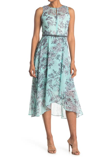 Image of Tommy Hilfiger Floral Belted Chiffon Maxi Dress