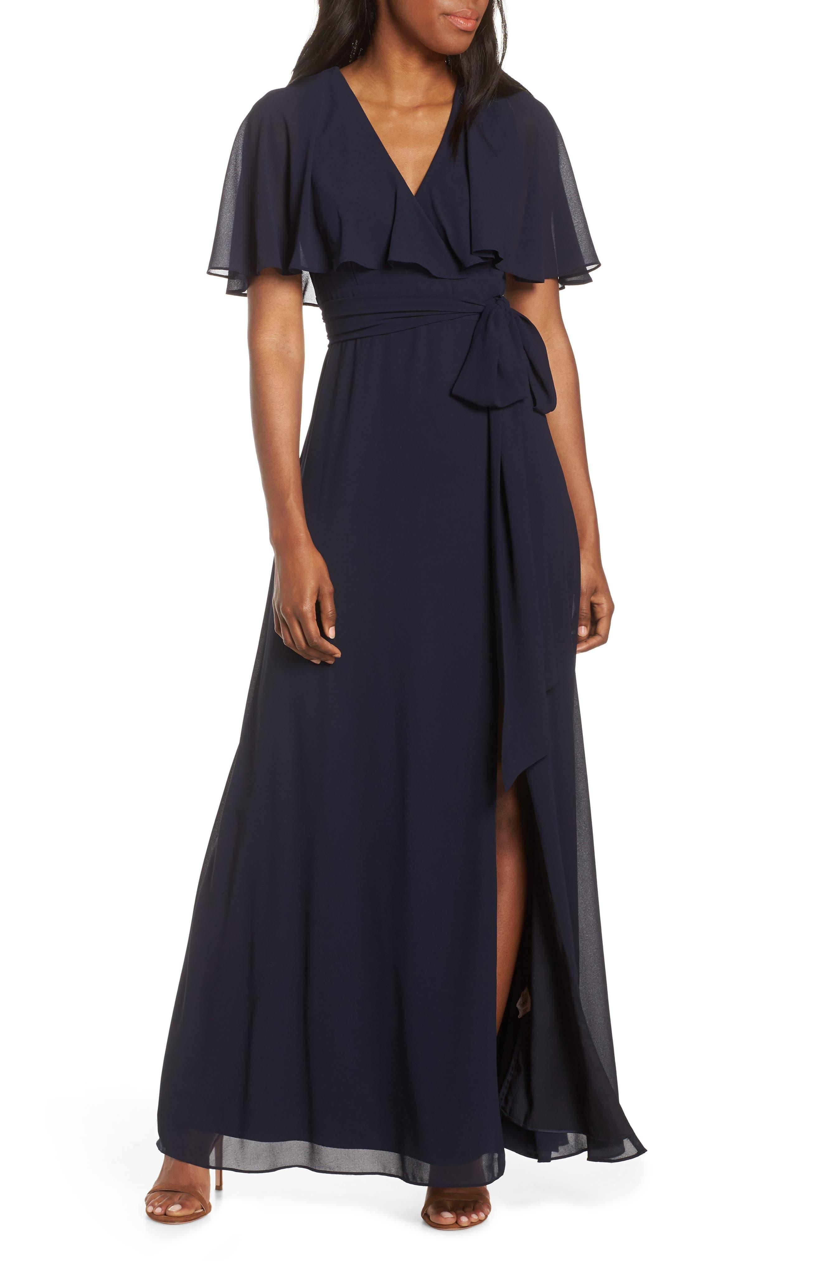 V-Neck Faux Wrap Chiffon Gown, Main, color, NAVY
