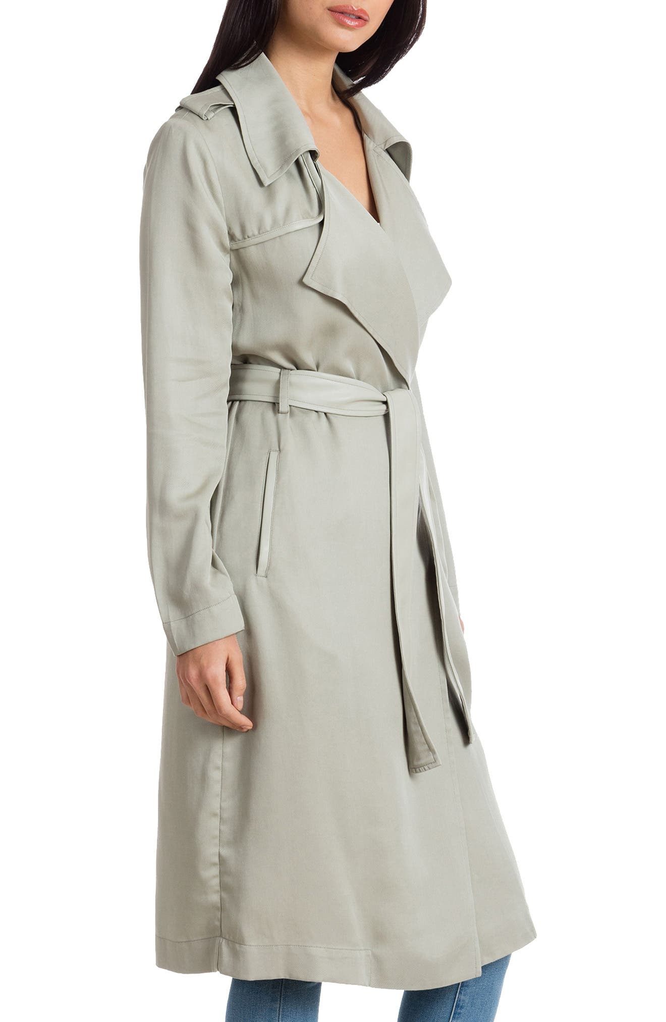 ,                             Badgley Mischka Faux Leather Trim Long Trench Coat,                             Alternate thumbnail 25, color,                             331